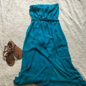 Forever 21 | Aqua Strapless Maxi Dress